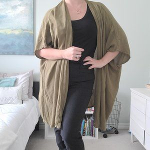Olive open front shawl